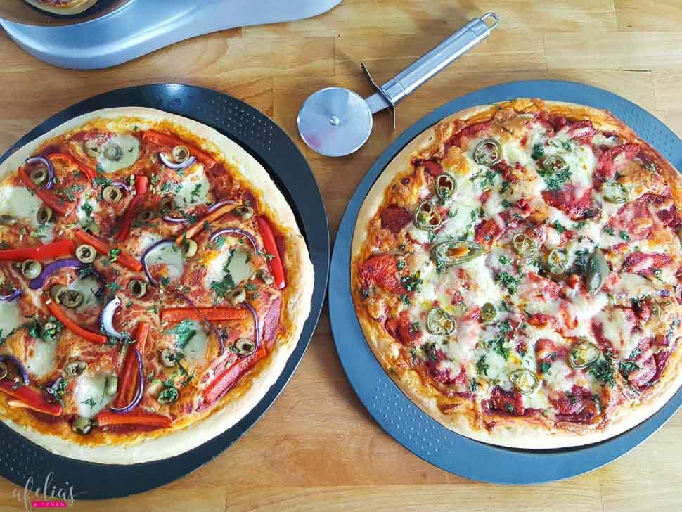 Chicken Tikka and Jalapeno Pizzas
