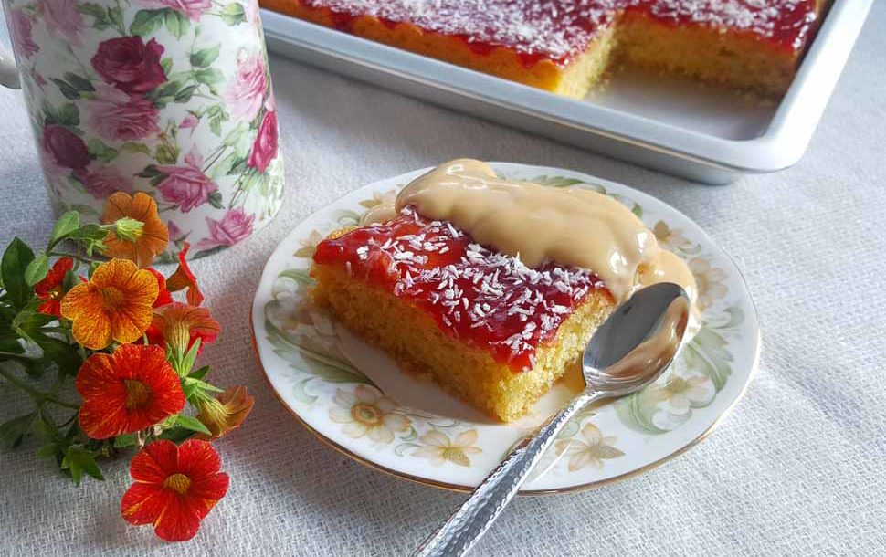 This Coconut And Jam Sponge Tray Bake Is A Taste Of My Childhood In Fact It S Many Us Can Relate To Having Attended School Here The Uk Cake